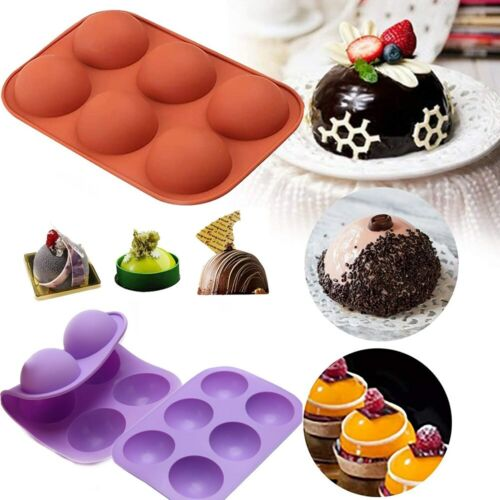3D 6-Holes Half Ball Silicone Chocolate Mold Sphere Cake Baking Tray Jelly USA Baking Accs. & Cake Decorating