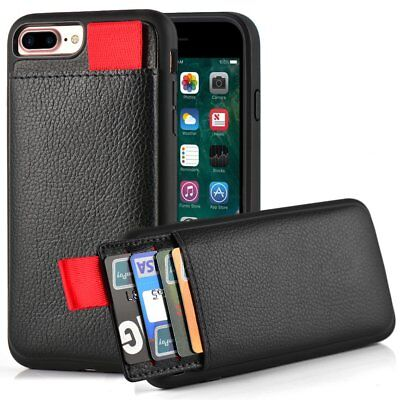 separation shoes 55d06 33066 Details about iPhone 8 Plus Wallet Case Protective Card Holder Credit Card  Slot Leather Cover