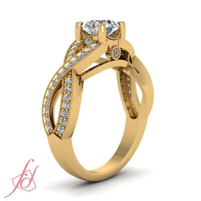 3/4 Carat Yellow Gold Round Cut Diamond Rings Intertwined Pave Set GIA Certified 2