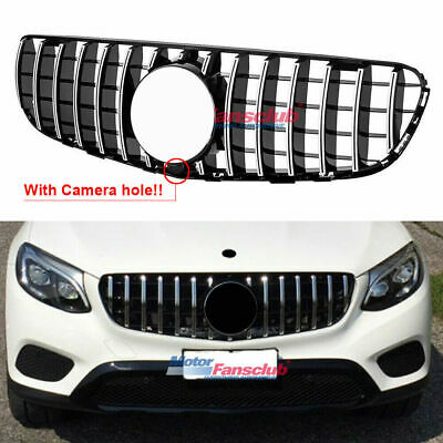 GT R Grille Grill For Mercedes GLC Class X253 GLC300 GLC350 15-19 w/ Camera Hole