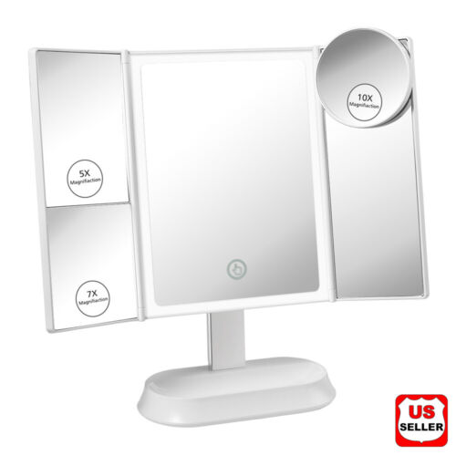 Led Lighted Mirror w/ Magnifying Portable Vanity Makeup Compact Trifold Dimmer Health & Beauty