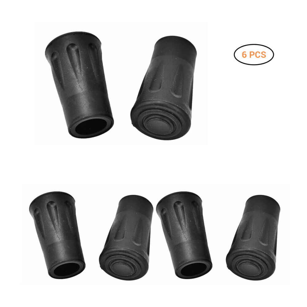 6 pcs Replacement Rubber Tips End for Hiking Stick Walking T