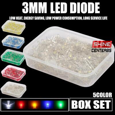 600pcs Assortment 3mm Led Light Emitting Diodes Coloured Yellowbluegreen Kit