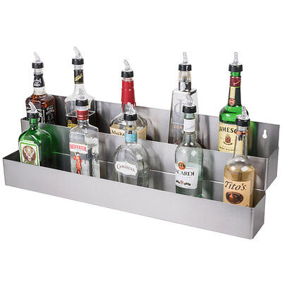 32 Silver Stainless Steel Double Tier Commercial Bar Speed Rail Rack