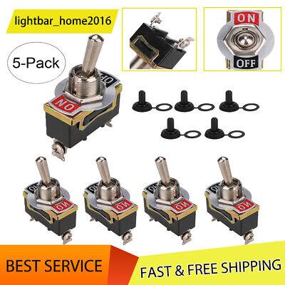 5 Set Waterproof Toggle Flick Switch 12v Onoff Car Dash Light Metal 12volt New