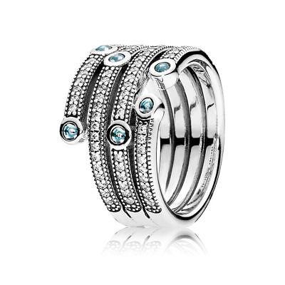 "Original Pandora Ring 191002CZF W56 ""Schimmernder Ozean"" Zirkonia 925 Silber"