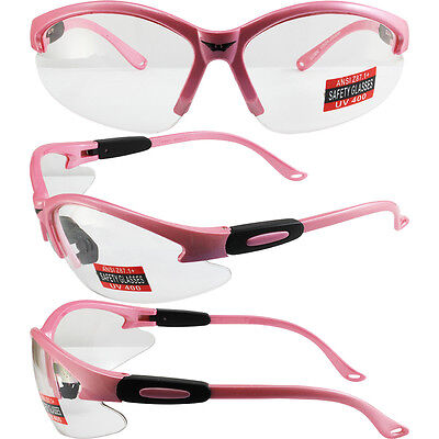 Cougar Pastel Medium Pink Frame Clear Lens Womens Safety Glasses Motorcycle Z87