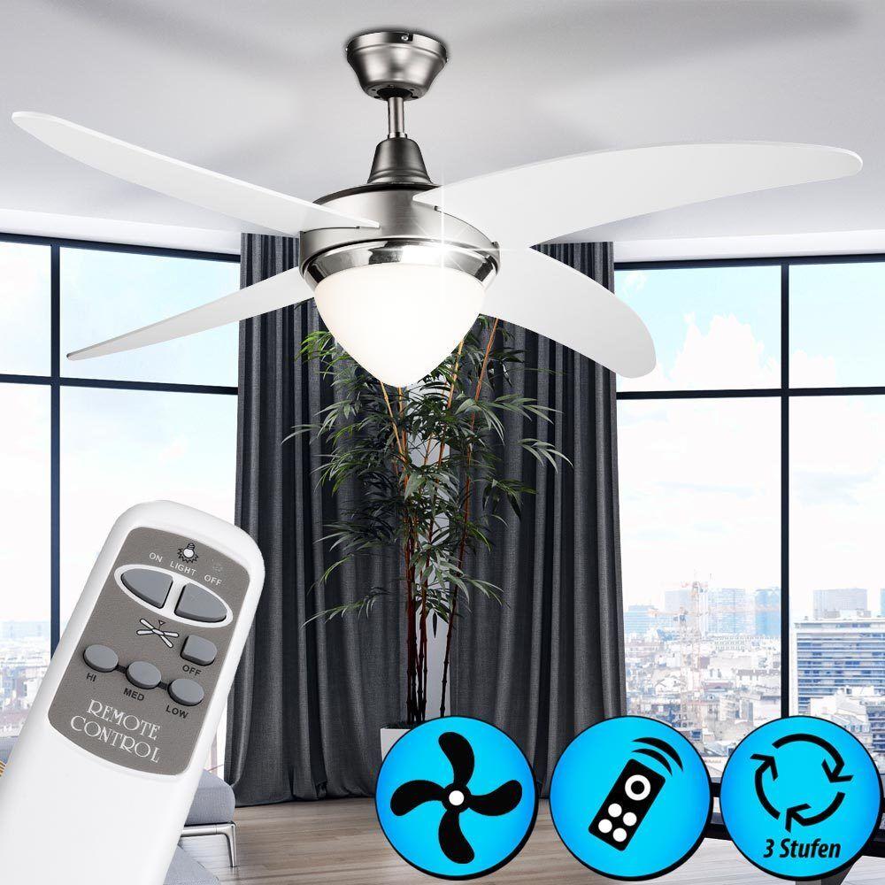 Deckenventilator Weiß mit Fernbedienung Wohnzimmer 122 cm Lüfter Küchen Lampe