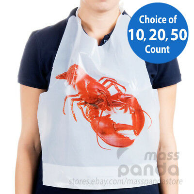 Royal Disposable Adult Size Poly Lobster Bibs with tie, Lightweight High Quality (Lobster Bib)