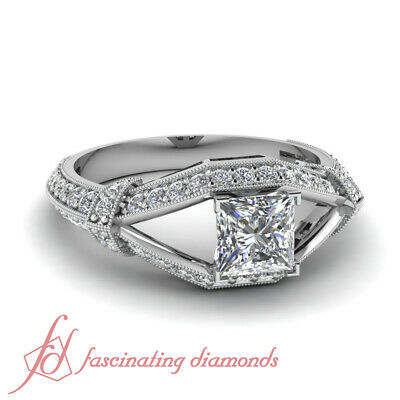 1.30 Ct Princess Cut Diamond Split Pave Set Engagement Ring 14K GIA Certified