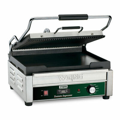 Waring Wdg250t Double Commercial Panini Press W Cast Iron Grooved Smooth 120v