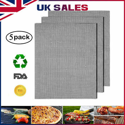 5PCS MINTIML GRILL MAT BBQ Grill Mesh Mat Non-Stick Cooking Sheet Liner UK
