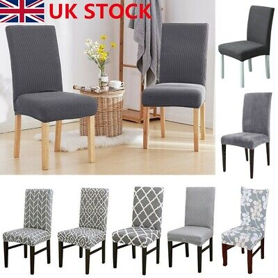 UK 1/4/6X Stretch Dining Chair Covers Removable Slipcovers Wedding Banquet Decor