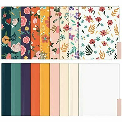 Eoout 18 Pack Cute File Folders Decorative Floral Letter Size Colored Folders X