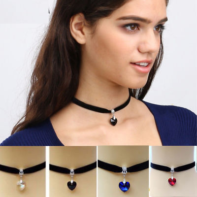 Ladies Black Chocker Choker Trendy Heart Collar Necklace Fashion Jewellery Girls - Girls Heart Necklace