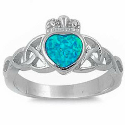 Blue Opal Irish Claddagh Celtic Design .925 Sterling Silver Ring Size 5-10 (Opal-irish Ring)