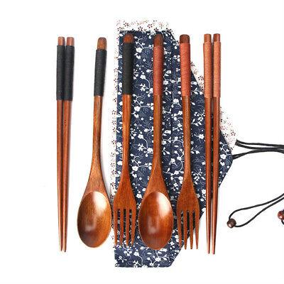 4PCS/Set Japanese Vintage Wooden Chopsticks Spoon Fork Tableware Kitchen Tools