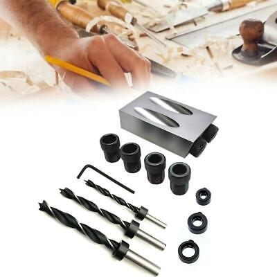 Pocket Hole Screw Jig With Dowel Drill Set Wood Joint Carpenters Tool Silver