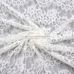 Stunning-White-Floral-Lace-Fabric-Women-Bridal-Wedding-Dress-Sold-by-Metres