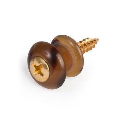 Waverly Guitar Strap Button, Dark tortoise button, gold scre
