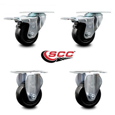 Hard Rubber Caster Set Of 4 W3 Wheels - 2 Wttl Brakes 2 Rigid