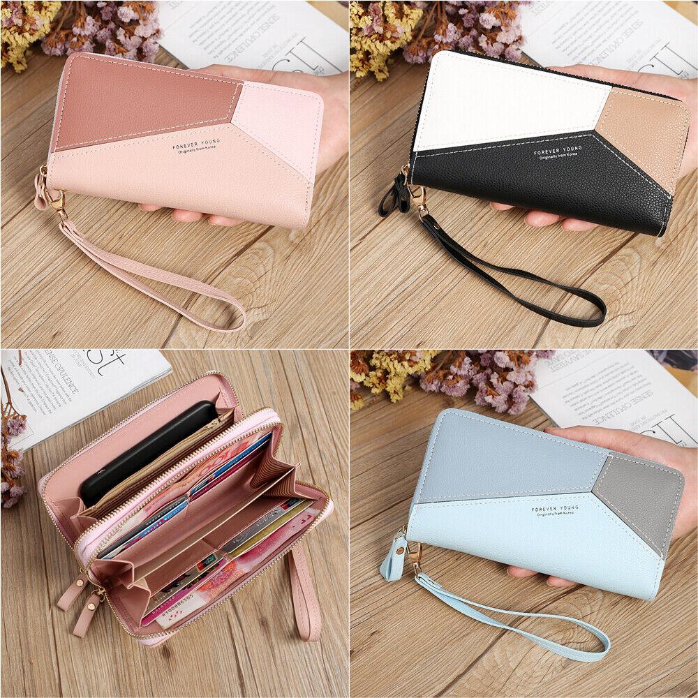 Women Double Zipper Leather Wallet Large Capacity Phone Bag Wrist Clutch Handbag Clothing, Shoes & Accessories