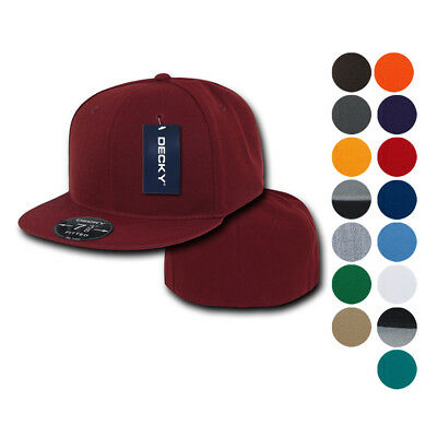 Bill 6 Panel Fitted Cap (Decky Retro Fitted Flat Bill Baseball Hats Caps 6 Panel Plain Solid 8 sizes )