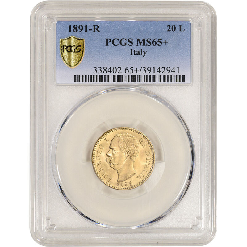 1891 R Italy Gold 20 Lire - PCGS MS65+ POP 1 Finest Graded