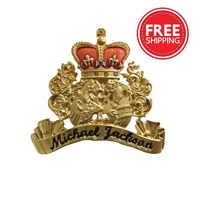RARE Michael Jackson Gold Crest Brooch Pin Badge Hungarian Rhinestones Neverland