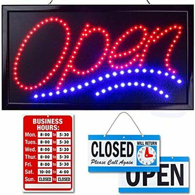Neon Open Sign For Business Jumbo Lighted With Flashing Mode Large Indoor Up 24