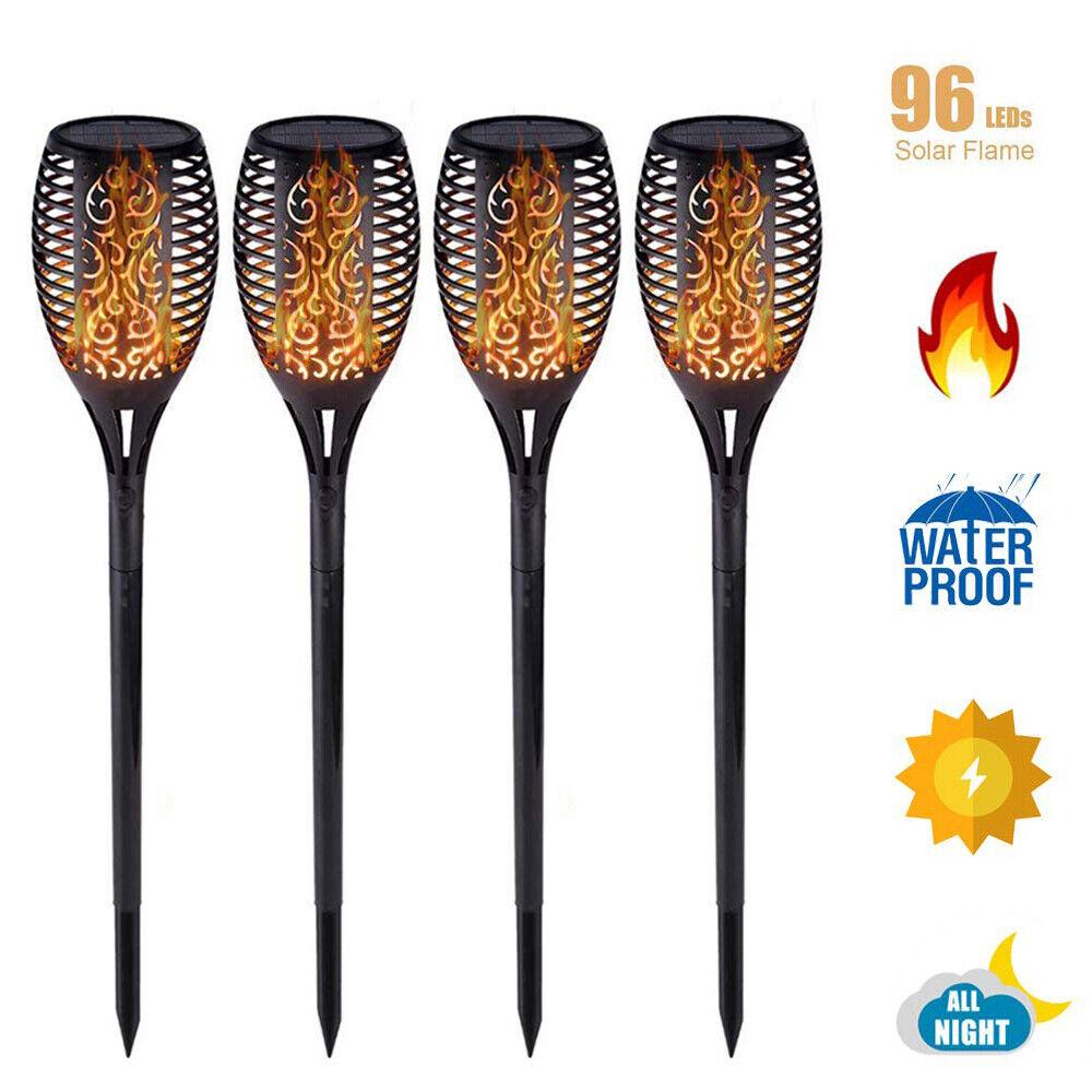 96LED Solar Lights Flame Lamp Flickering Landscape Yard Gard