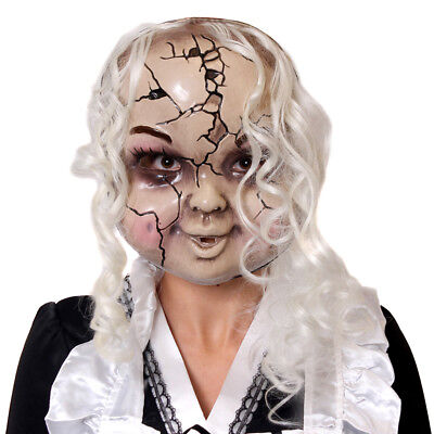 CRACKED PORCELAIN DOLL MASK WITH HAIR HALLOWEEN FANCY DRESS COSTUME ACCESSORY (Porcelain Doll Mask Halloween)
