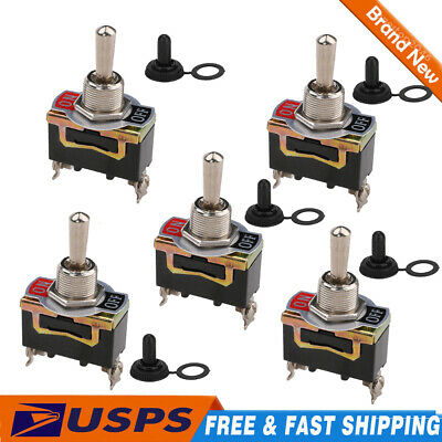 5 Set Waterproof Toggle Flick Switch 12v Onoff Car Dash Light 12volt Spst Usa