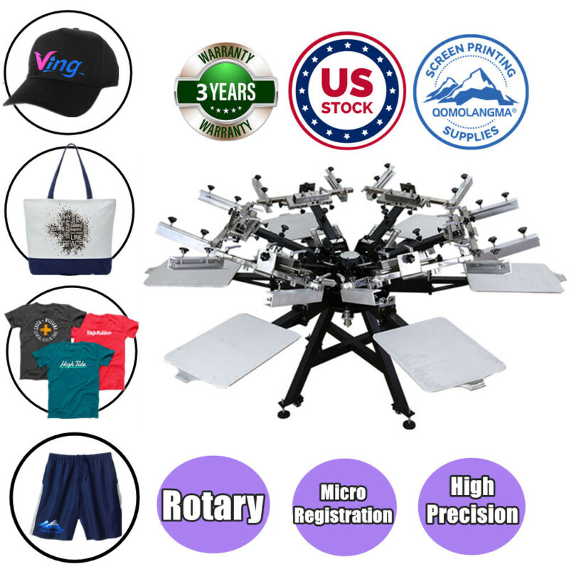 USA Heavy Duty 6 Color 6 Station Screen Printing Machine with Micro Registration
