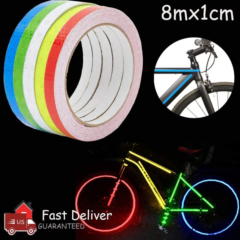 Reflective Safety Tape Self Adhesive Sticker Strip Decal 8M Roll 1CM Multi Color