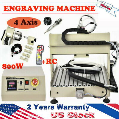 800w 4axis 3040t Cnc Router Drilling Engraver Machine Woodworking Diycontroller