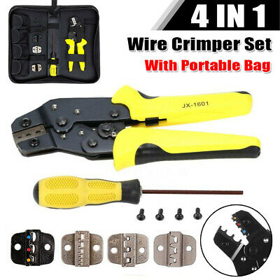 Professional Cable Wire Terminal Crimper Ratcheting Crimping Plier Tool Kit Set