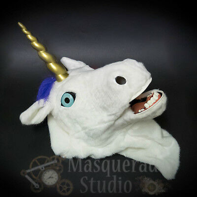 Over the Head Magical Unicorn Costume Moving Mouth Rainbow Mane Masquerade Mask](Unicorn Head Costume)