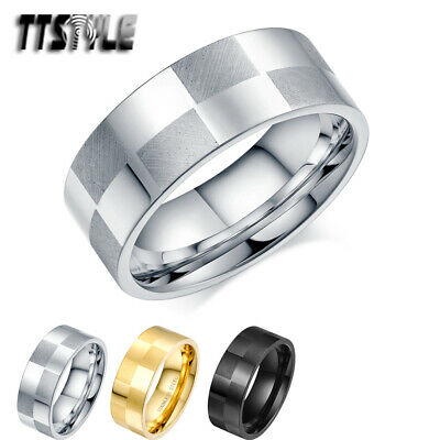 TTstyle 8mm Width Polished/Matt Checkerboard Stainless Steel Band Ring NEW