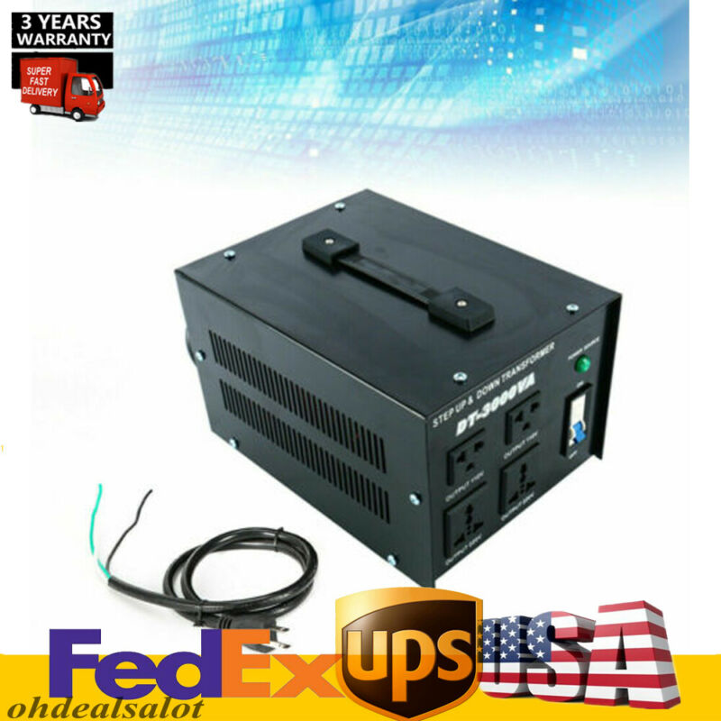Power 3000W Step Up/Down Voltage Transformer Converter 110V to 220V to 110V USA