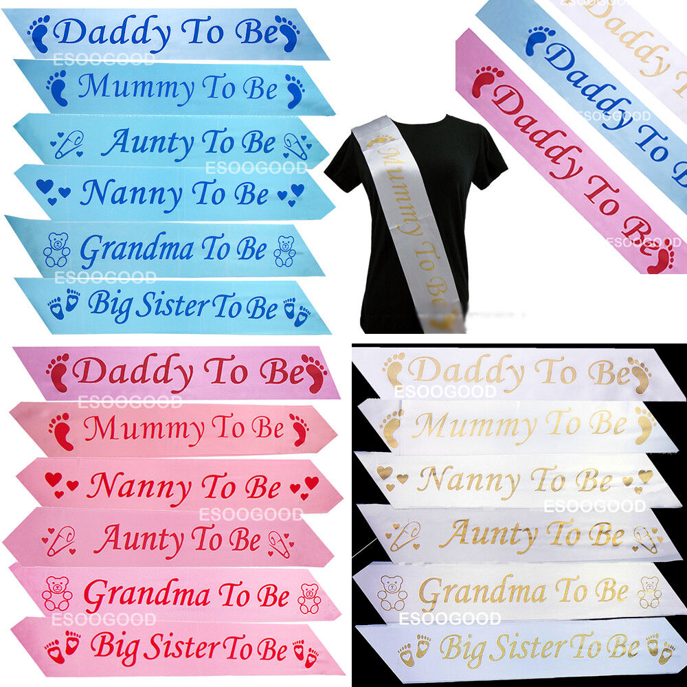 BABY SHOWER SASHES Mummy to be Nanny Aunty Big Sister Grandma Daddy To Be Sash