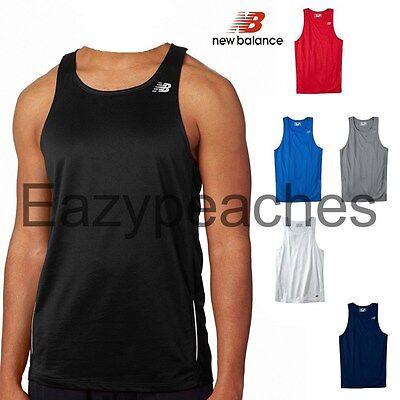 (New Balance Mens TEMPO Running Singlet Gym Tank Top T-Shirt dri-fit S-3XL N9138)