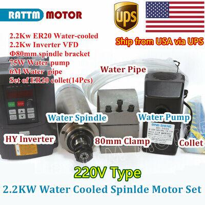 Usacnc 2.2kw 220v Water Cooled Spindle Motor Er20vfd Inverter80mm Clamppump