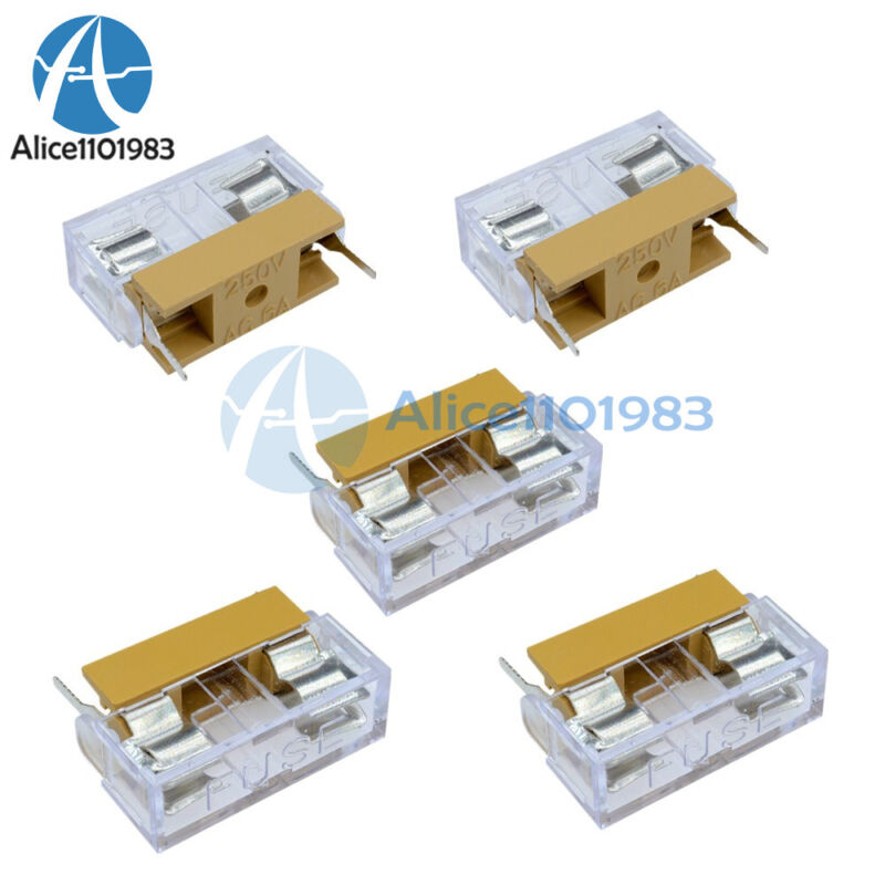 5pcs Panel Mount Pcb Fuse Holder Case With Cover For 5x20mm Fuse 250v 6a