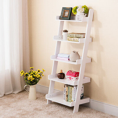 Wood White 5-Tier Bookshelf Leaning Ladder Wall Shelf Bookcase Storage Furniture