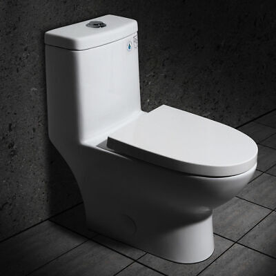 Dual Flush Elongated Siphonic Toilet Bathroom 1-Piece Vitreous China (1 Piece Toilet)