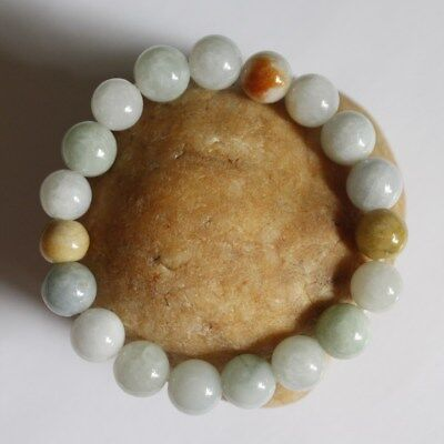 Genuine 100% Natural (Grade A) Multi-Color Jadeite Jade Beaded Bracelet #Br471