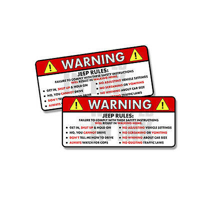 """Jeep Rules Warning Safety Instructions Funny Adhesive Sticker Decal 2 PACK 5"""""""