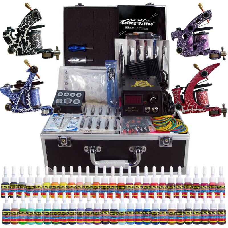 Solong Tattoo Complete Tattoo Kit 4 Machine Gun 54 Ink Power Set Case TK456
