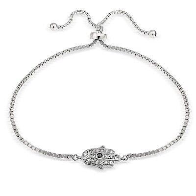Sterling Silver Cubic Zirconia Hamsa Hand Adjustable Bracelet